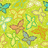 Seamless inlay of mosaic images of butterflies. Li Stock Photo