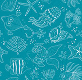 Seamless inlay of sea creatures, corals and shells Royalty Free Stock Photography