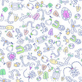 Seamless insects wallpaper. Vector Seamless insects wallpaper with Hand drawn Stock Image