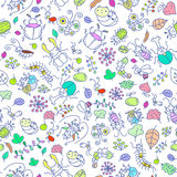 Seamless insects wallpaper. Vector Seamless insects wallpaper with Hand drawn Royalty Free Stock Image