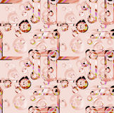 Seamless intricate circles pattern pink and light brown overlaying Royalty Free Stock Photography