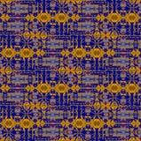 Seamless intricate pattern dark blue gray orange ocher Royalty Free Stock Images