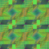 Seamless intricate pattern green ocher purple diagonally Royalty Free Stock Images