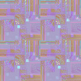 Seamless intricate squares pattern purple violet ocher brown turquoise Royalty Free Stock Photo