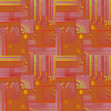 Seamless intricate squares pattern yellow orange terracotta violet purple Stock Photography