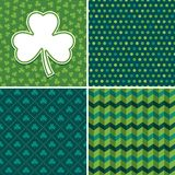 Seamless irish green backgrounds and shamrock card set 3. Set of seamless vector backgrounds in shades of green for Saint Patrick`s Day. Patterns include argyle royalty free illustration