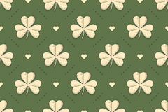 Seamless irish green pattern with clover and heart Royalty Free Stock Photography