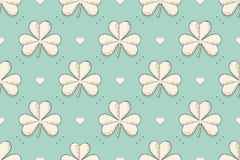 Seamless irish green pattern with clover and heart Royalty Free Stock Images