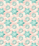 Seamless Islamic Geometry. Hand drawn watercolor seamless islamic geometric pattern. Decorative backdrop for fabric, textile, wrapping paper, card, invitation Stock Images