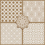 Seamless Islamic patterns set in beige Royalty Free Stock Photography