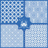 Seamless Islamic patterns set in blue Stock Images