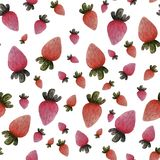 Seamless isolated colorful watercolor strawberries on white background. Food illustration. Fresh, healthy food, good for vegetarian. Summer berries vector illustration