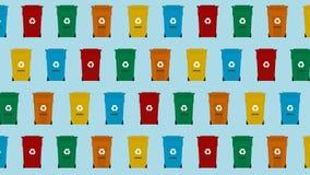 Seamless isometric pattern garbage trash bin. royalty free illustration