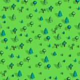 Seamless pattern with isometric trees. Seamless isometric trees pattern vector illustration. 3d low poly spurce Royalty Free Stock Images