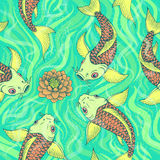 Seamless Japan pattern with Koi Fish carp  background. Royalty Free Stock Photography