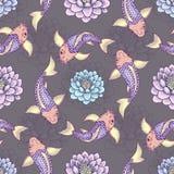 Seamless Japan pattern with Koi Fish carp  background. Japanese Fancy Carp or Koi. Seamless Japan pattern with Koi Fish carp  background illustration Stock Image