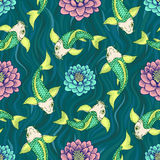 Seamless Japan pattern with Koi Fish carp  background. Royalty Free Stock Images