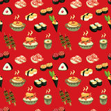 Seamless Japanese food pattern Stock Photography
