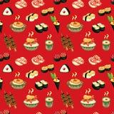 Seamless Japanese food pattern Stock Photography