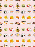 Seamless Japanese food pattern Stock Images