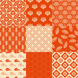 Seamless japanese pattern set Stock Photo