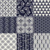 Seamless japanese pattern set Stock Images