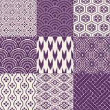 Seamless japanese pattern set stock illustration