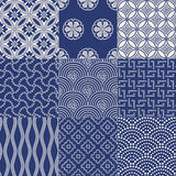 Seamless japanese pattern set Royalty Free Stock Images