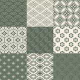 Seamless japanese pattern set Royalty Free Stock Image