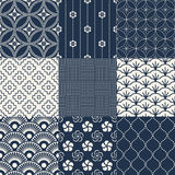 Seamless japanese pattern set