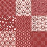 Seamless japanese pattern set Stock Photo