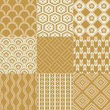 Seamless japanese pattern set Stock Image