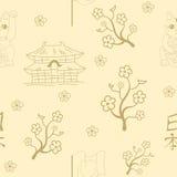 Seamless Japanese symbols  background Stock Photo