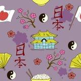 Seamless Japanese symbols pattern Royalty Free Stock Photography