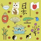 Seamless Japanese symbols yellow background Stock Image