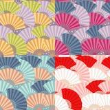 seamless japansk modell för färgrik ventilator royaltyfri illustrationer