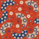 seamless japansk modell Japansk blom- bakgrund med den japanska fanen stock illustrationer