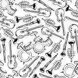 Seamless jazz musical instruments pattern Stock Photos