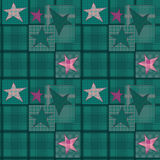 Seamless jeans denim kids patchwork stars pattern. Background Royalty Free Stock Image