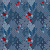Seamless jeans denim patchwork pattern Stock Photos