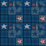 Seamless jeans denim patchwork stars pattern. Background Stock Images