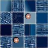 Seamless jeans patchwork pattern Royalty Free Stock Images