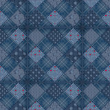 Seamless jeans patchwork pattern Stock Photography