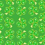 Seamless jewelry shamrock pattern Stock Photo