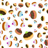 Seamless jewish background for Hanukkah. Seamless jewish pattern with colorful sufganiots for Festival of Lights, Feast of Dedication Hanukkah on white Royalty Free Stock Photo
