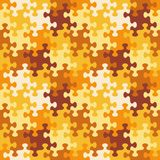 Seamless jigsaw puzzle pattern of autumn or camouflage colors. Seamless you see 4 tiles jigsaw puzzle pattern, background, print, swatch or wallpaper with Stock Photo