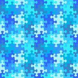 Seamless jigsaw puzzle pattern of water or winter blue colors. Seamless you see 4 tiles jigsaw puzzle pattern, background, print, swatch or wallpaper with Stock Photos