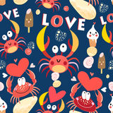 Seamless jolly pattern with crabs in love Royalty Free Stock Images