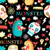 Seamless jolly pattern with monsters Stock Photography
