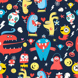 Seamless jolly pattern with monsters Stock Photos